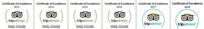Misty Woods Resort | Tripadvisor Certificate of Excellence | 6 Times in 7 years